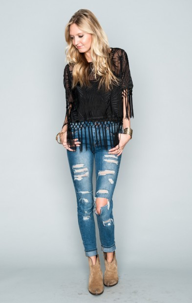 Madison Fringe Top ~ Leafy Luxe Black
