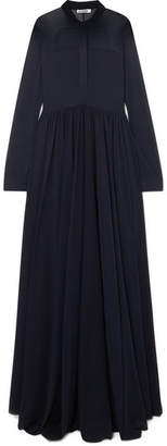 Jil Sander Stretch-chiffon Maxi Dress - Navy