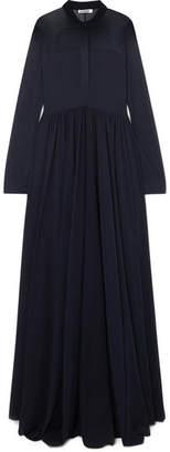 Jil Sander Stretch-chiffon Maxi Dress - Navy