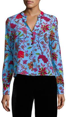Diane von Furstenberg Print Split Neck Silk Button-Down Shirt
