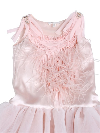 Satin And Tulle Dress With Feathers