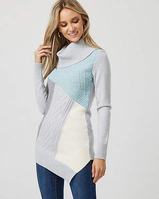Le Château Colour Block Knit Cowl Neck Sweater