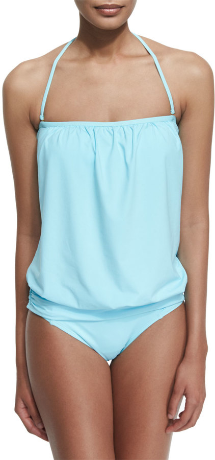 Tommy Bahama Solid Blouson Bandini Swim Top 5