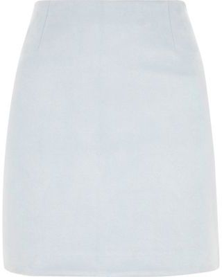 River Island Womens Light blue faux suede mini skirt