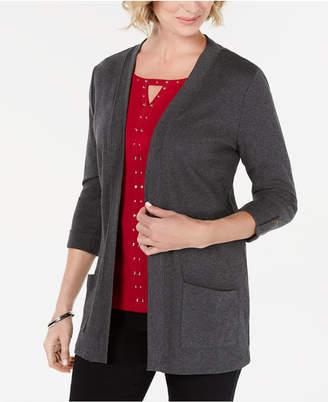 Karen Scott Cotton 3/4-Sleeve Open-Front Cardigan