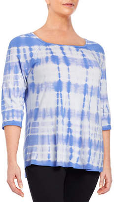 Calvin Klein Plus Tie-Dye Striped Top