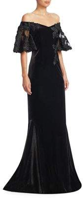 Teri Jon by Rickie Freeman Velvet Off-The-Shoulder Lace Sleeve Gown