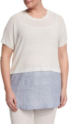 Marina Rinaldi Short-Sleeve Tunic with Shirttail Hem, Plus Size