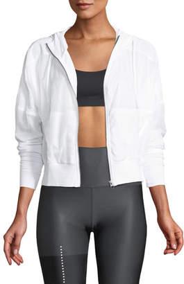 Alo Yoga Aqua Woven Mesh Zip-Front Activewear Jacket