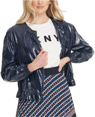 DKNY Faux-Leather Drawstring Bomber Jacket