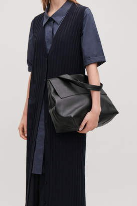 Cos LEATHER TOTE BAG WITH STRAP