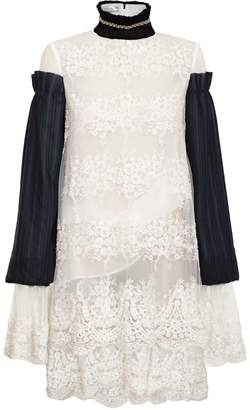 Jiri Kalfar White Embroidered Dress With Black Pleated Sleeves