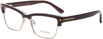 Tom Ford TF5364 Gold-Tone & Brown Rectangle Optical Frames