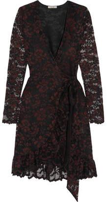 Ganni Flynn Lace Wrap Mini Dress - Burgundy