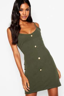 boohoo Button Detail Mini Dress
