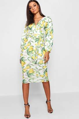 boohoo Tall Lemon Print Bodycon Midi Dress
