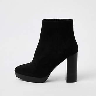 River Island Black faux suede wide fit platform boots