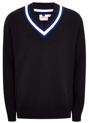 Topman Mens Navy 'Milan' Oversized V Neck Sweater