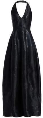 Halston Metallic Jacquard Halterneck Gown