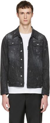 Dsquared2 Black Denim Micro-Studded Long Jacket $1,495 thestylecure.com