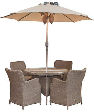 LG Electronics Outdoor Saigon 4 Seat Garden Dining Table / Chairs Set with Parasol, Natural Grey