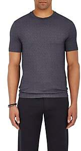 Giorgio Armani Men's Lapped-Neck Stretch-Wool T-Shirt - Blue