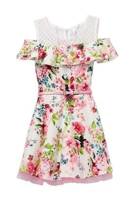 Beautees Belted Cold Shoulder Floral Dress with Necklace (Big Girls)