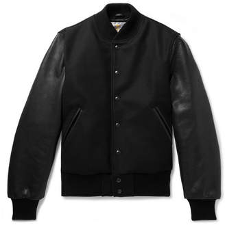 GoldenBear Golden Bear Wool-Blend And Leather Bomber Jacket