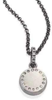 Rene Escobar Small Diamond& Sterling Silver Round Pendant Necklace