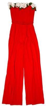 Elizabeth Kennedy Floral-Appliqué Strapless Jumpsuit