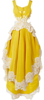 Just Let Me Live Guipure Lace-trimmed Silk-faille Gown - Yellow