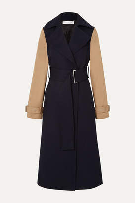 Victoria Beckham Two-tone Wool-gabardine And Cotton-blend Canvas Trench Coat - Navy