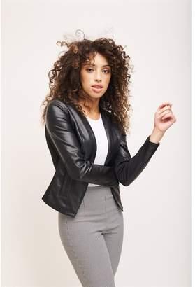 Dynamite Open Front Faux Leather Jacket JET BLACK