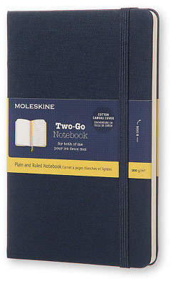 Moleskine NEW Two-Go Medium Oriental Blue Canvas Notebook