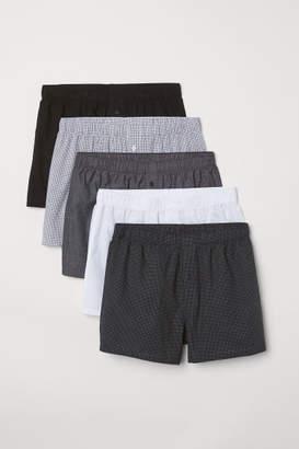H&M 5-pack Woven Boxer Shorts - Black