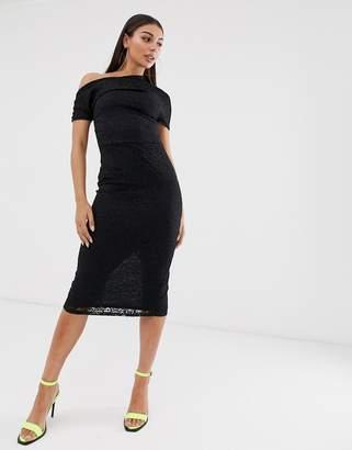78cac804a7 Asos Design DESIGN Pleated Shoulder Lace Midi Dress