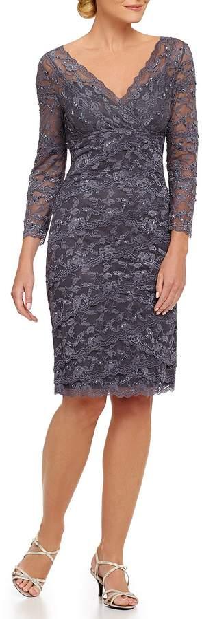 Marina V-Neck Illusion 3/4 Sleeve Beaded Lace Dress