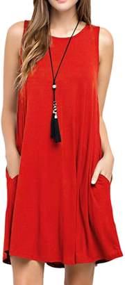Zojuyozio Women Summer Casual Sleeveless Round Neck Pleated Soild Tunic Sundress S
