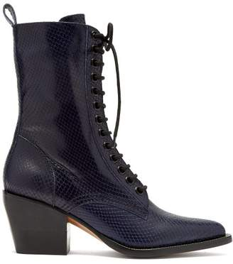 Chloe - Snakeskin Effect Lace Up Leather Boots - Womens - Navy