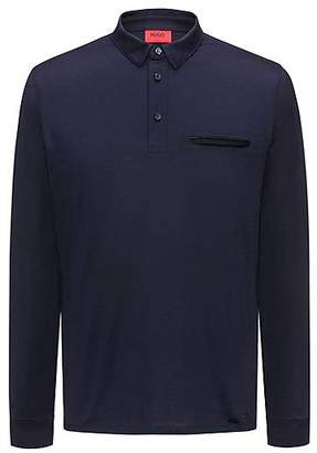HUGO BOSS Long-sleeved cotton polo shirt with chest pocket