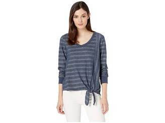 Mod-o-doc 5X2 Stripe V-Neck Tie Front Long Sleeve Tee