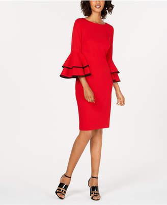 Calvin Klein Piped Bell-Sleeve Sheath Dress