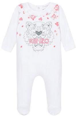 Kenzo Tiger & Flower Print Ruffle-Trim Footie Pajamas, Size 3-9 Months