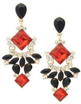 Design Lab Goldtone and Glass Stone Chandelier Drop Earrings