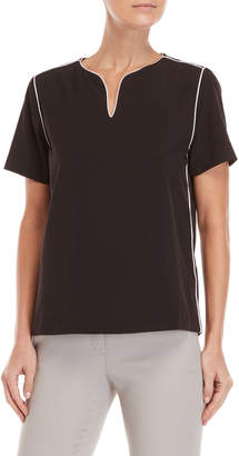 Premise Studio V-Neck Contrast Piping Top