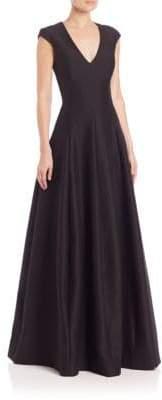 Halston Silk Faille Cap-Sleeve Gown