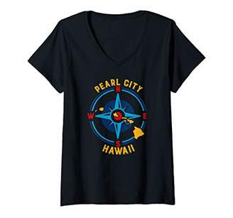Womens Pearl City Hawaii Compass Rose graphic V-Neck T-Shirt