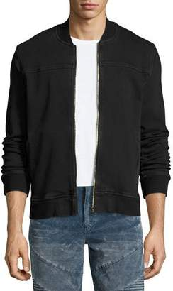 True Religion Varsity Over-Dyed French Terry Bomber Jacket, Black