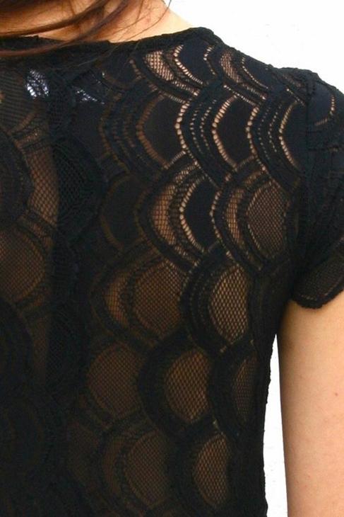 Nightcap Clothing Cap Sleeve Deep V Victorian Dress in Black