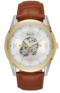 Fossil Relic by Men's Blaine Automatic Two-Tone and Brown Leather Skeleton Watch
